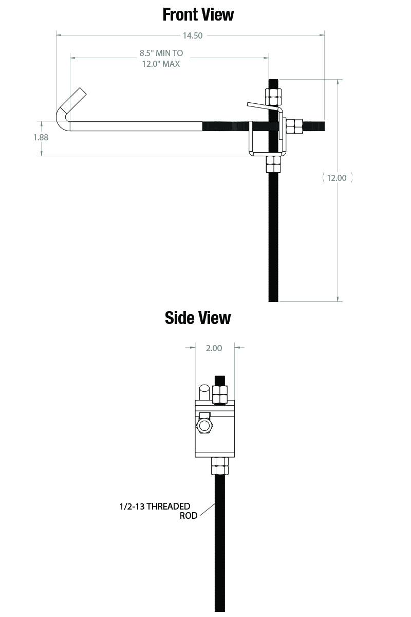 BC-2824-12 BEAM CLAMP   9-12 inch Offset Hang Point