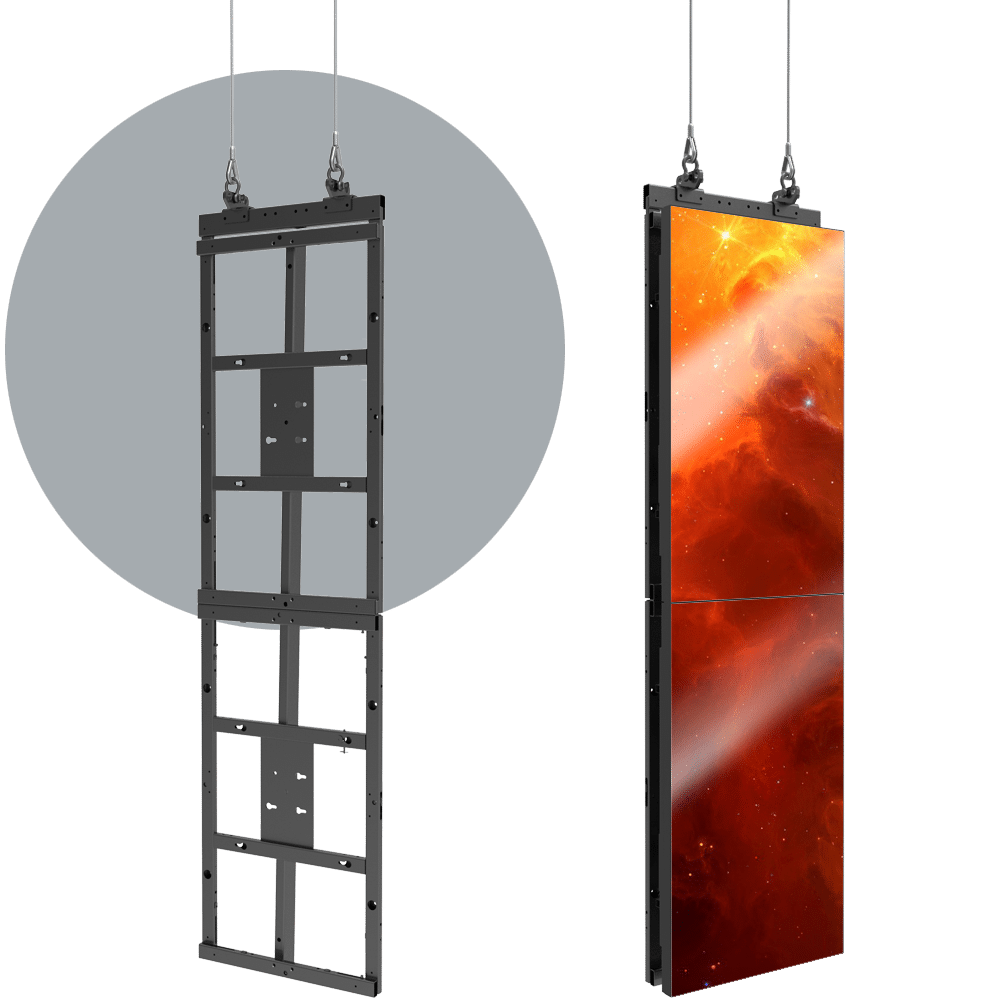 HoverGrid 1X2 Flyable 1X2 Portrait Video Wall Frame System