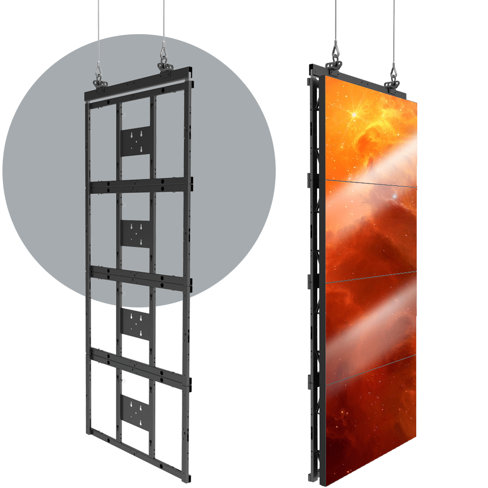 HoverGrid 1X4 Flyable 1X4 Landscape Video Wall Frame System