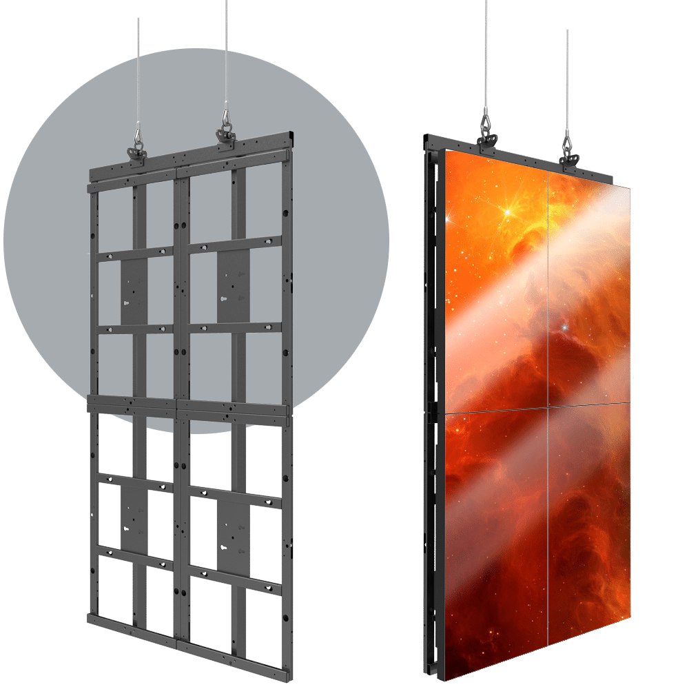 HoverGrid 2X2 Flyable 2X2 Portrait Video Wall Frame System