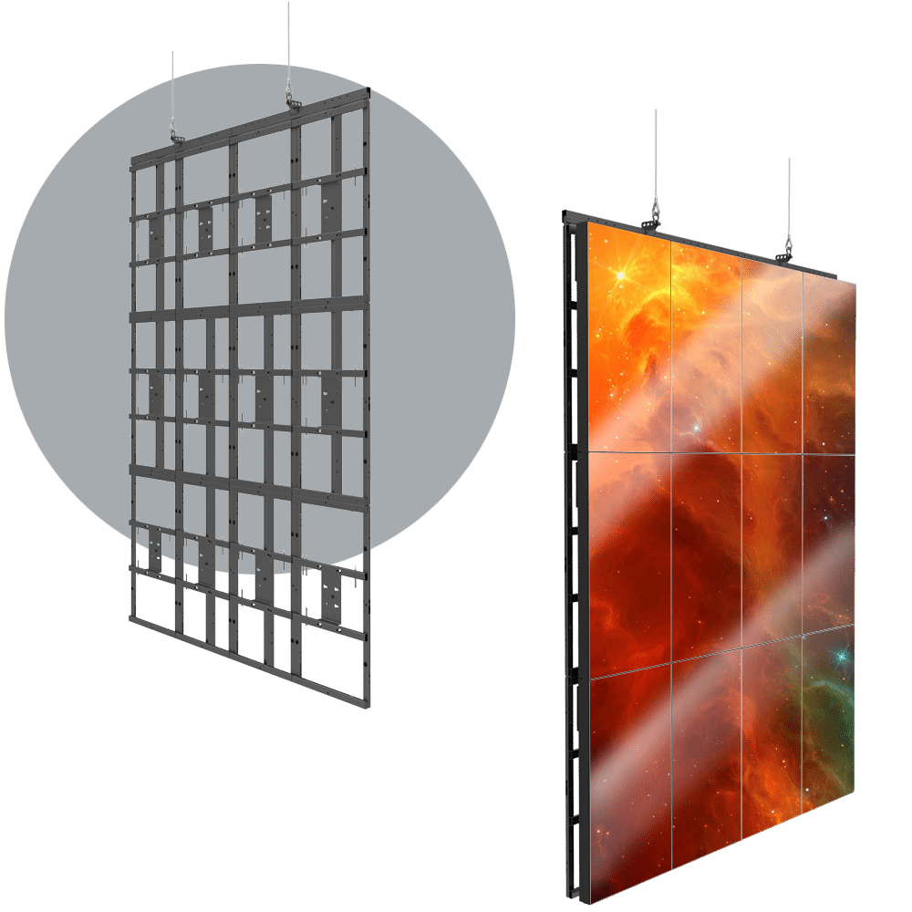 HoverGrid 4X3 Flyable 4X3 Portrait Video Wall Frame System
